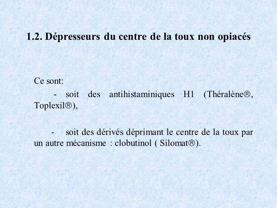 1.2. Dépresseurs du centre de la toux non opiacés Ce sont: - soit des antihistaminiques H1 (Théralène, Toplexil ), - soit des dérivés déprimant le cen
