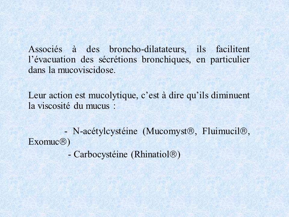 Associés à des broncho-dilatateurs, ils facilitent lévacuation des sécrétions bronchiques, en particulier dans la mucoviscidose. Leur action est mucol