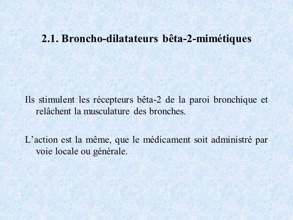 2.1. Broncho-dilatateurs bêta-2-mimétiques Ils stimulent les récepteurs bêta-2 de la paroi bronchique et relâchent la musculature des bronches. Lactio