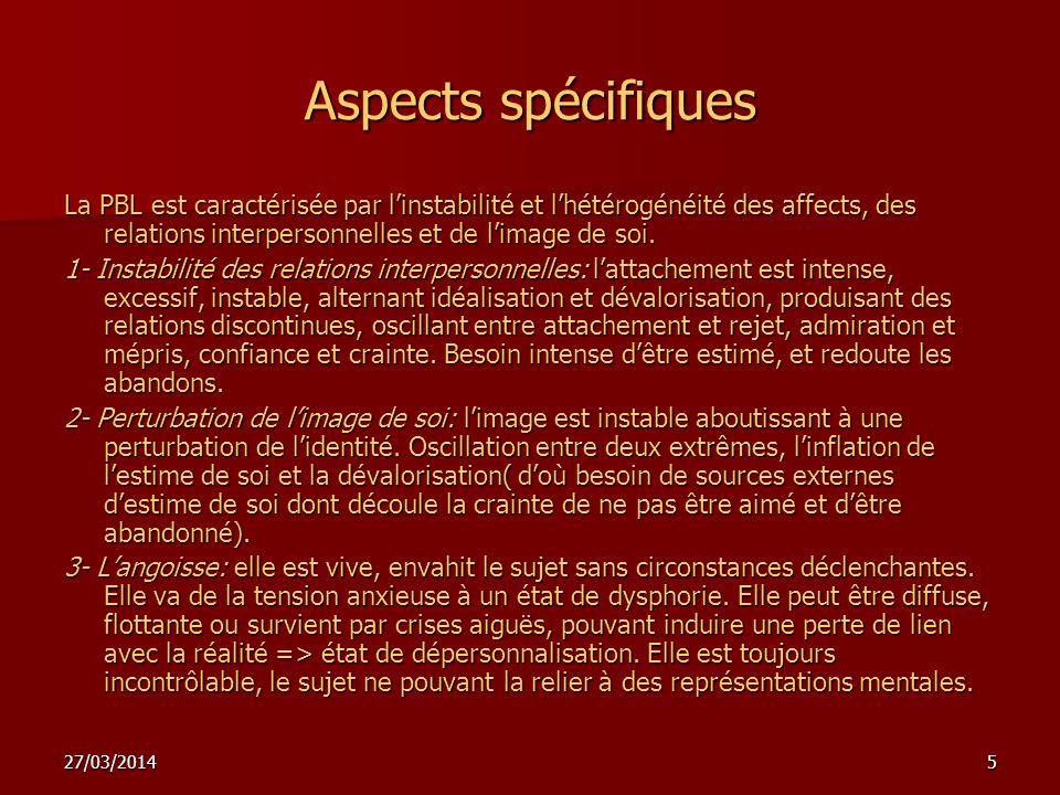 27/03/20145 Aspects spécifiques La PBL est caractérisée par linstabilité et lhétérogénéité des affects, des relations interpersonnelles et de limage de soi.
