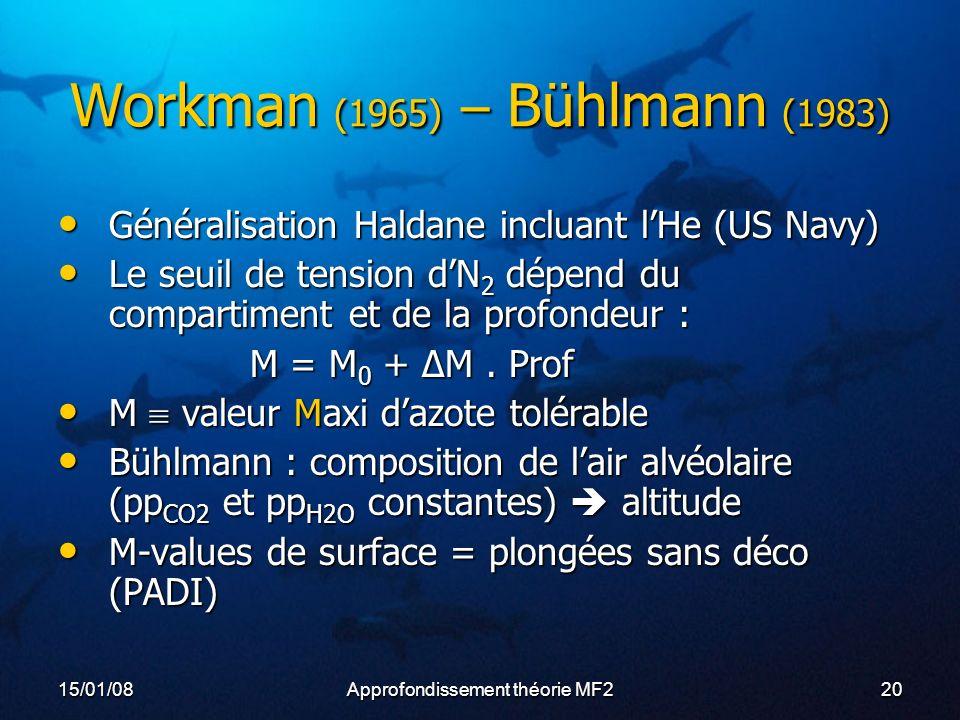 15/01/08Approfondissement théorie MF220 Workman (1965) – Bühlmann (1983) Généralisation Haldane incluant lHe (US Navy) Généralisation Haldane incluant lHe (US Navy) Le seuil de tension dN 2 dépend du compartiment et de la profondeur : Le seuil de tension dN 2 dépend du compartiment et de la profondeur : M = M 0 + ΔM.