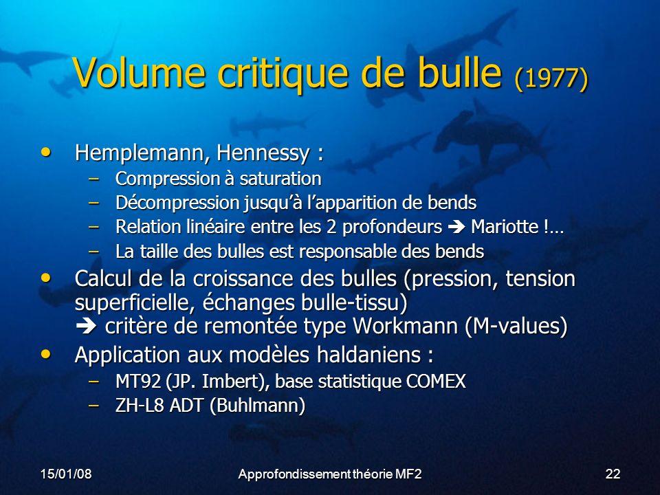 15/01/08Approfondissement théorie MF222 Volume critique de bulle (1977) Hemplemann, Hennessy : Hemplemann, Hennessy : –Compression à saturation –Décompression jusquà lapparition de bends –Relation linéaire entre les 2 profondeurs Mariotte !… –La taille des bulles est responsable des bends Calcul de la croissance des bulles (pression, tension superficielle, échanges bulle-tissu) critère de remontée type Workmann (M-values) Calcul de la croissance des bulles (pression, tension superficielle, échanges bulle-tissu) critère de remontée type Workmann (M-values) Application aux modèles haldaniens : Application aux modèles haldaniens : –MT92 (JP.