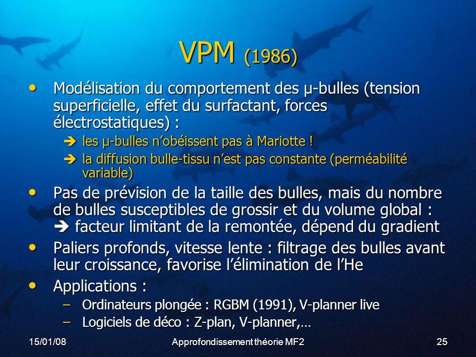 15/01/08Approfondissement théorie MF225 VPM (1986) Modélisation du comportement des µ-bulles (tension superficielle, effet du surfactant, forces électrostatiques) : Modélisation du comportement des µ-bulles (tension superficielle, effet du surfactant, forces électrostatiques) : les µ-bulles nobéissent pas à Mariotte .