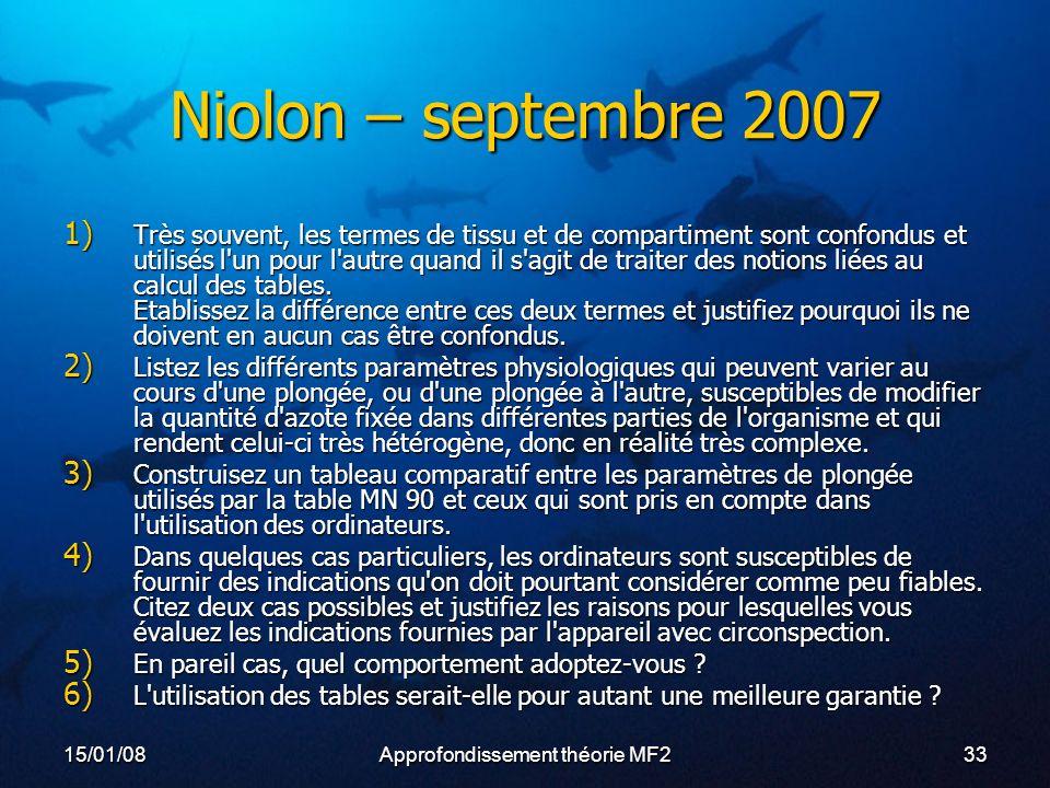 15/01/08Approfondissement théorie MF233 Niolon – septembre 2007 1) Très souvent, les termes de tissu et de compartiment sont confondus et utilisés l un pour l autre quand il s agit de traiter des notions liées au calcul des tables.