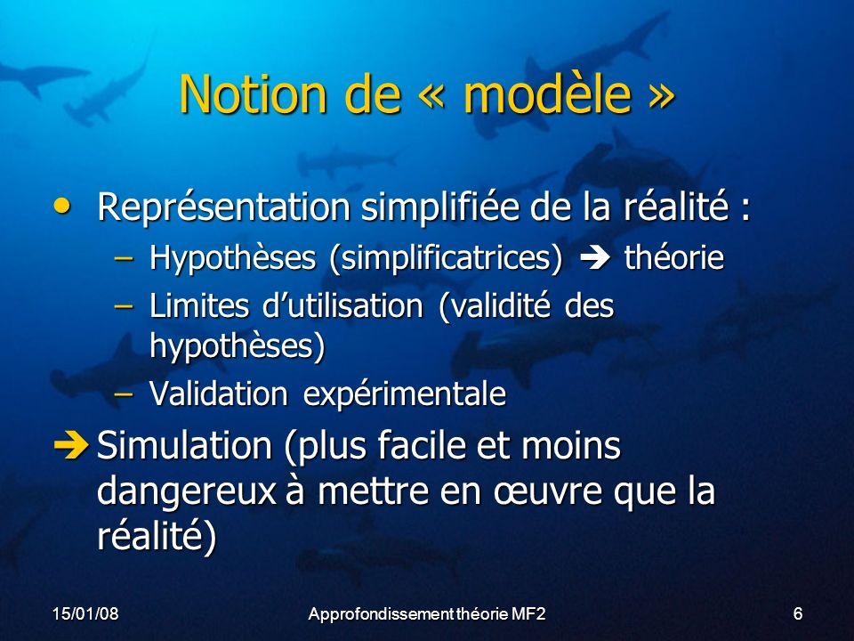 15/01/08Approfondissement théorie MF217 Un modèle à succès Flexibilité : Flexibilité : –Nb compartiments (6 à 16) –Périodes choisies (3min à 700min) –Coefficients Sc (fixes ou variables) Simplicité : un seul paramètre, facile à mesurer = pression Simplicité : un seul paramètre, facile à mesurer = pression Facilité de mise en œuvre : ordinateurs Facilité de mise en œuvre : ordinateurs