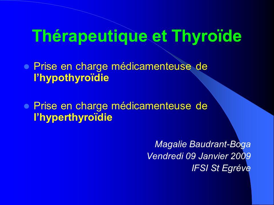 Physiologie de la thyroïde – rappels THYROIDE = glande endocrine Hormones T4 et T3 Iode… TSH Hypophyse TRH Hypothalamus + + - CœurMuscles Système nerveux Tube digestif ThermogenèseHématopoïèse Régulation à 3 étages… +- Équilibre physiologique…