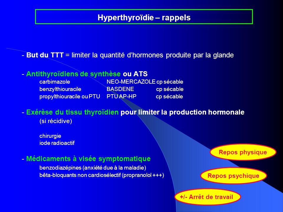 - But du TTT = limiter la quantité dhormones produite par la glande - Antithyroïdiens de synthèse ou ATS carbimazoleNEO-MERCAZOLE cp sécable benzylthi