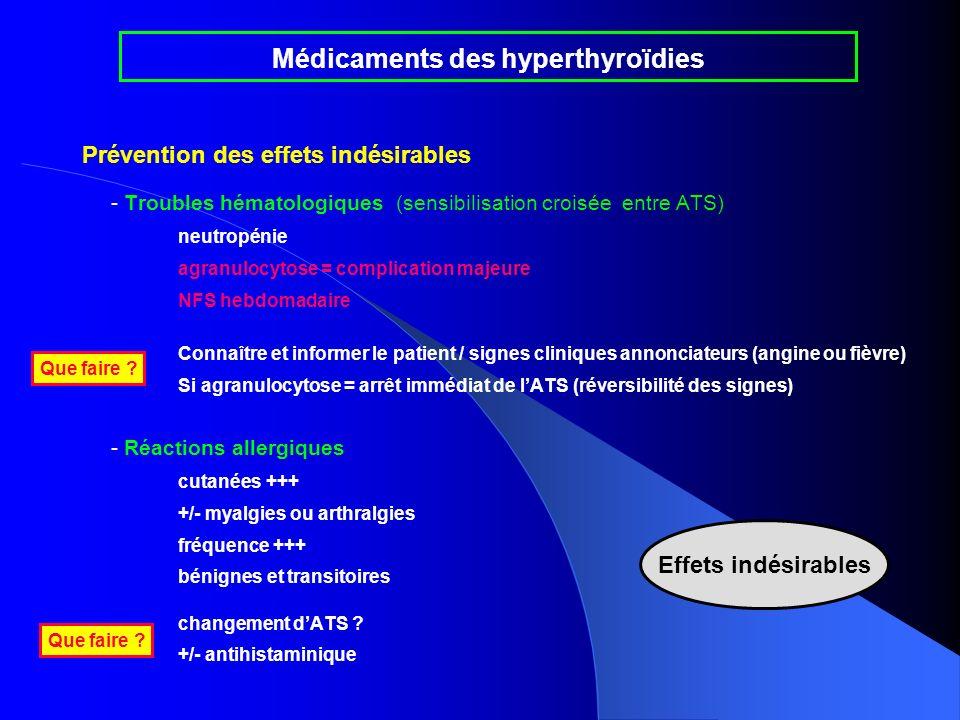 Prévention des effets indésirables - Troubles hématologiques (sensibilisation croisée entre ATS) neutropénie agranulocytose = complication majeure NFS