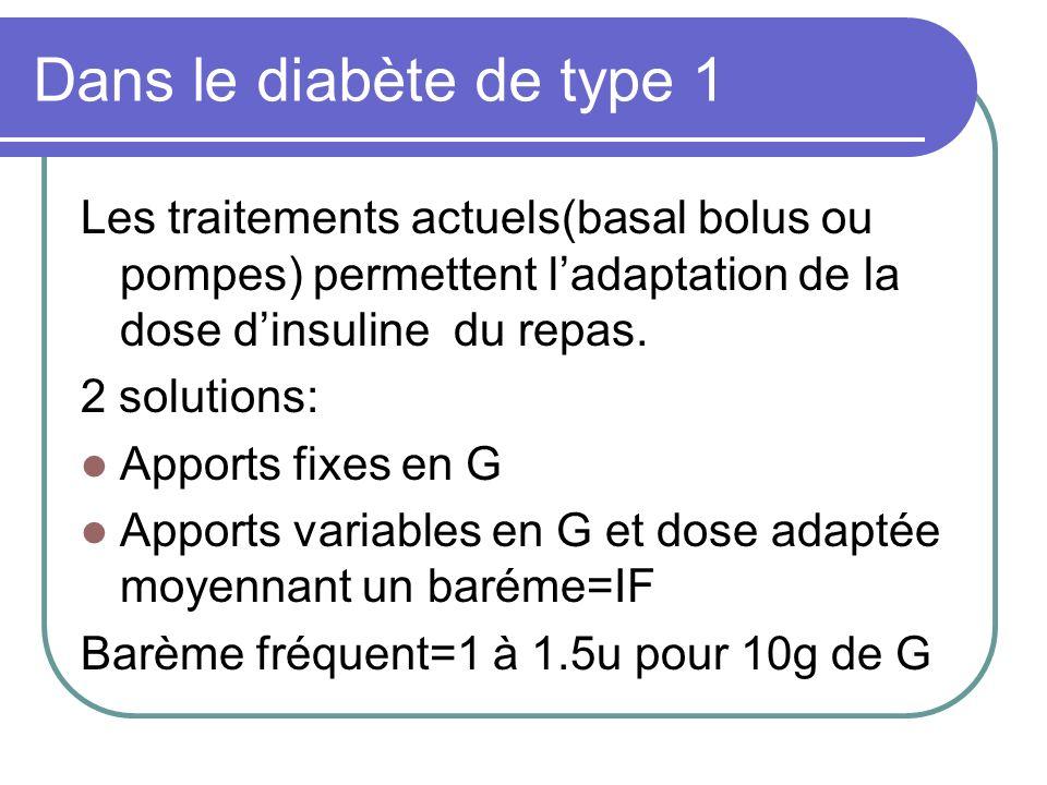 Dans le diabète de type 1 Les traitements actuels(basal bolus ou pompes) permettent ladaptation de la dose dinsuline du repas. 2 solutions: Apports fi