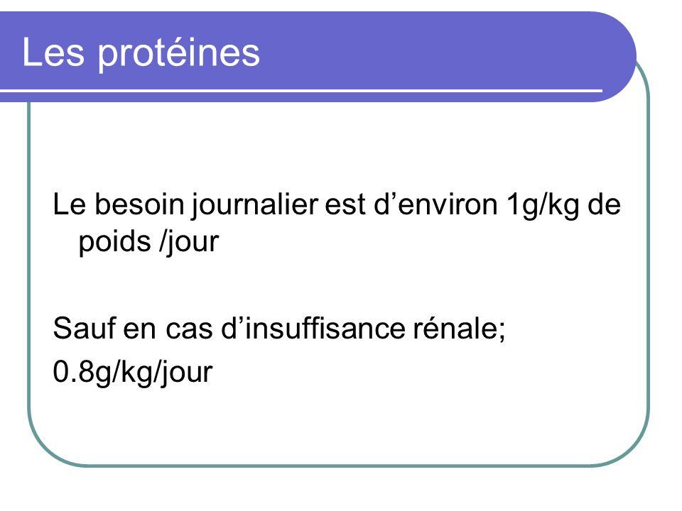 Les protéines Le besoin journalier est denviron 1g/kg de poids /jour Sauf en cas dinsuffisance rénale; 0.8g/kg/jour