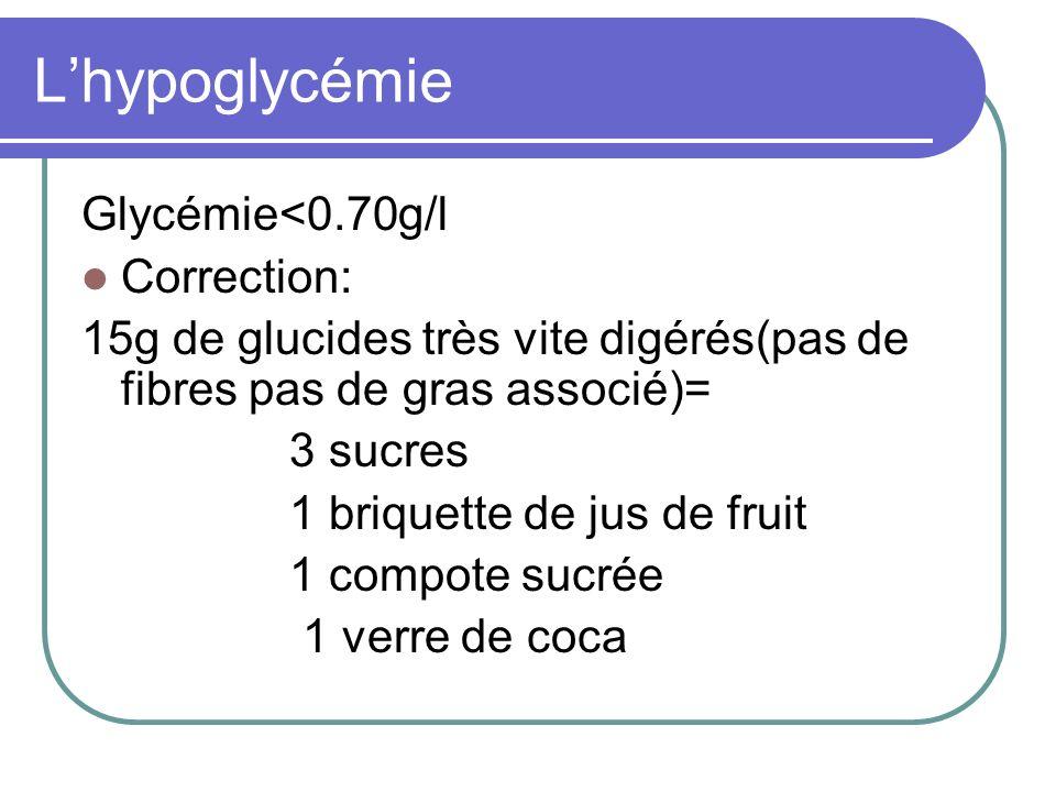Lhypoglycémie Glycémie<0.70g/l Correction: 15g de glucides très vite digérés(pas de fibres pas de gras associé)= 3 sucres 1 briquette de jus de fruit