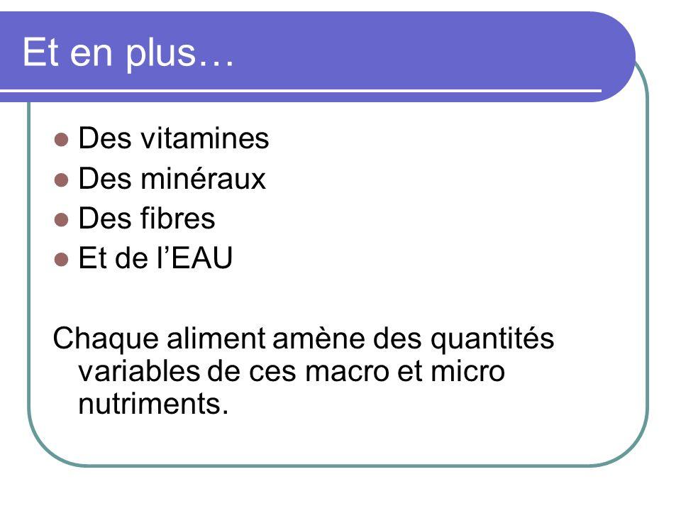 Et en plus… Des vitamines Des minéraux Des fibres Et de lEAU Chaque aliment amène des quantités variables de ces macro et micro nutriments.