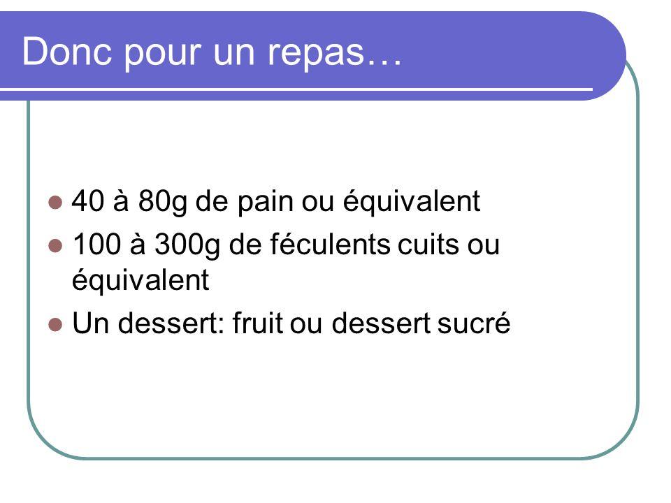 Donc pour un repas… 40 à 80g de pain ou équivalent 100 à 300g de féculents cuits ou équivalent Un dessert: fruit ou dessert sucré
