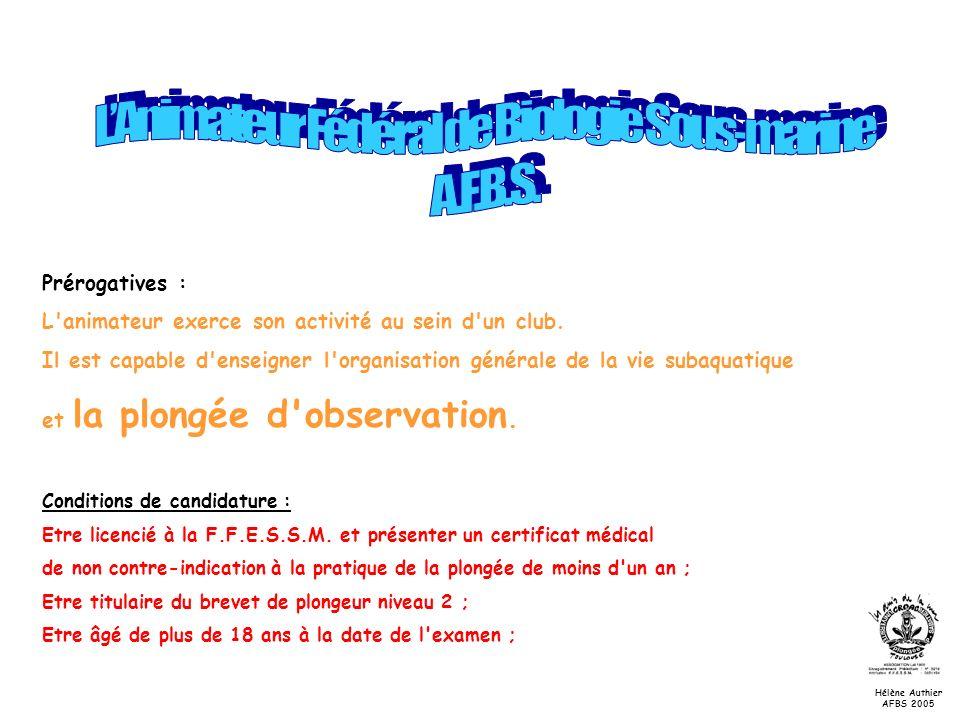 Les echinodermes Hélène Authier AFBS 2005