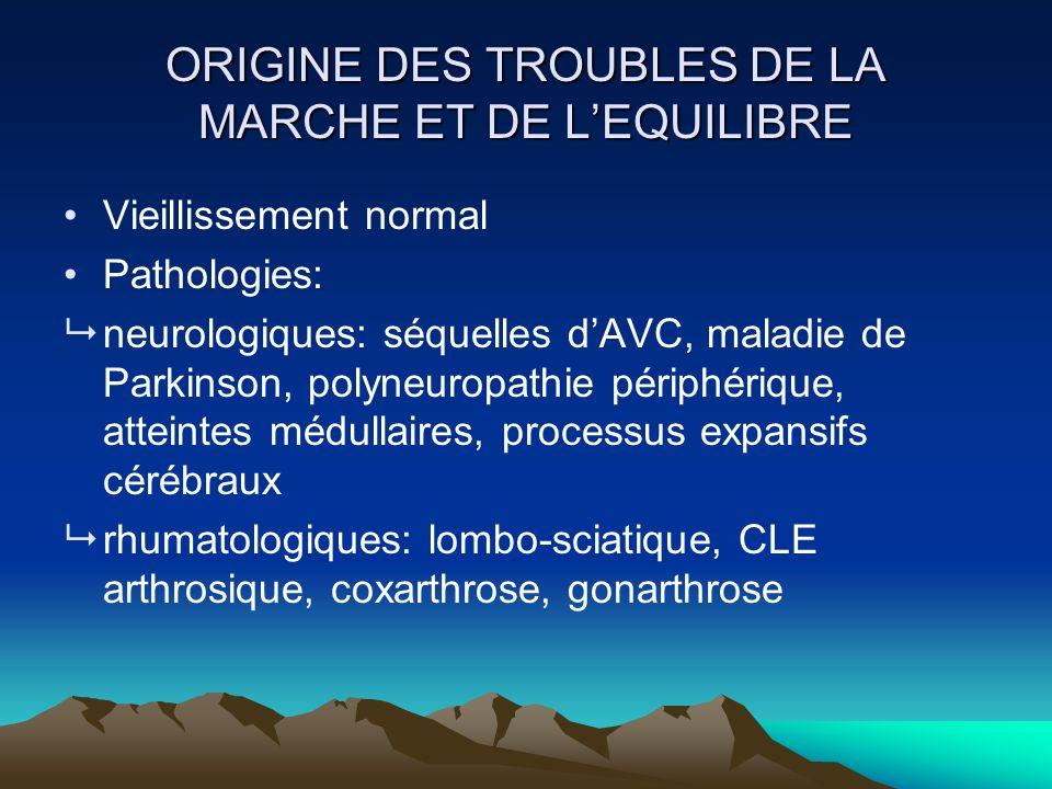 ORIGINE DES TROUBLES DE LA MARCHE ET DE LEQUILIBRE Vieillissement normal Pathologies: neurologiques: séquelles dAVC, maladie de Parkinson, polyneuropa