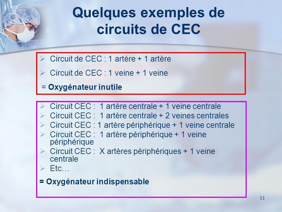 11 Quelques exemples de circuits de CEC Circuit CEC : 1 artère centrale + 1 veine centrale Circuit CEC : 1 artère centrale + 2 veines centrales Circui