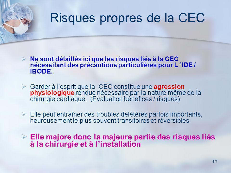 17 Ne sont détaillés ici que les risques liés à la CEC nécessitant des précautions particulières pour L IDE / IBODE. Garder à lesprit que la CEC const