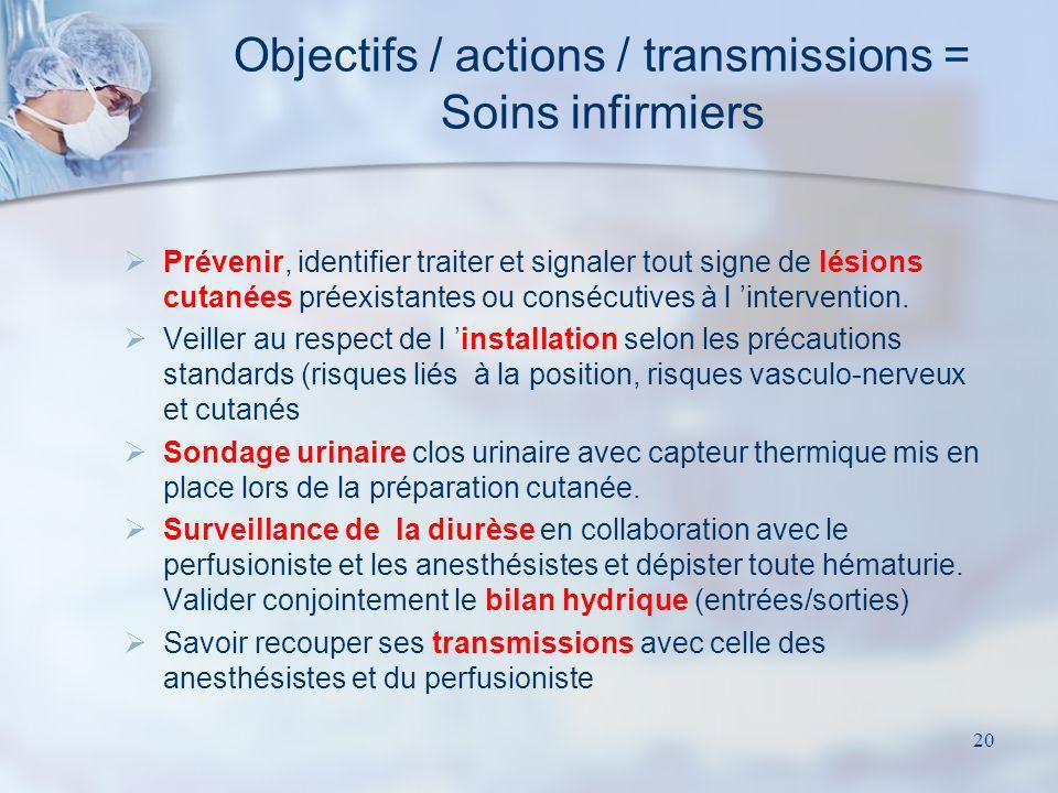20 Prévenir, identifier traiter et signaler tout signe de lésions cutanées préexistantes ou consécutives à l intervention. Veiller au respect de l ins