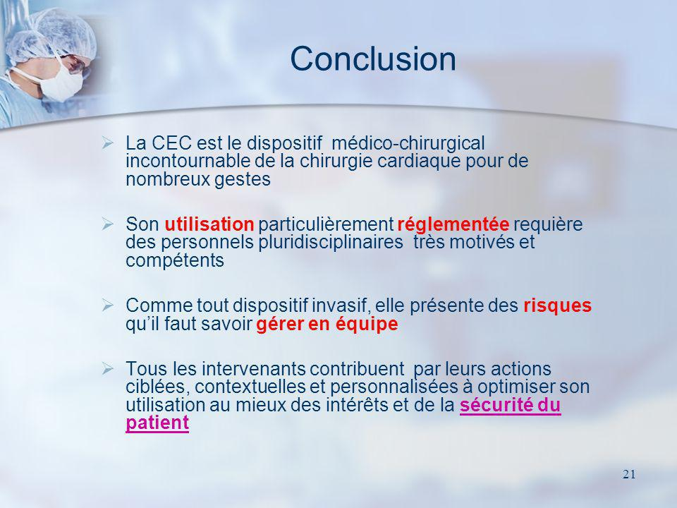 21 Conclusion La CEC est le dispositif médico-chirurgical incontournable de la chirurgie cardiaque pour de nombreux gestes Son utilisation particulièr