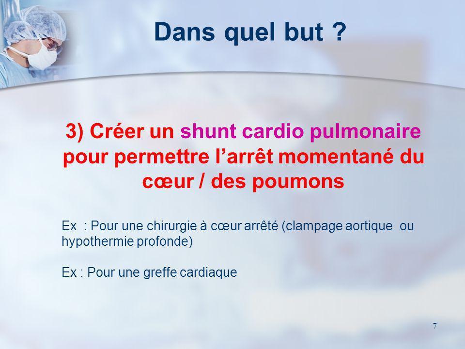 7 3) Créer un shunt cardio pulmonaire pour permettre larrêt momentané du cœur / des poumons Ex : Pour une chirurgie à cœur arrêté (clampage aortique o