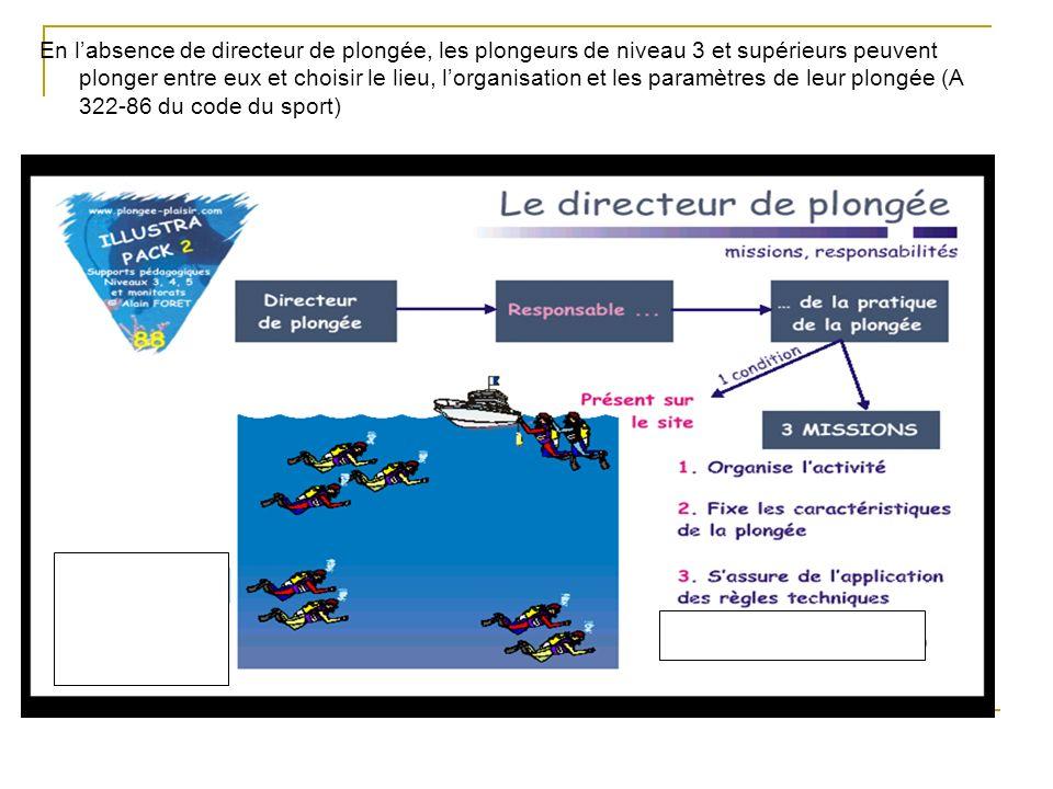 En labsence de directeur de plongée, les plongeurs de niveau 3 et supérieurs peuvent plonger entre eux et choisir le lieu, lorganisation et les paramè