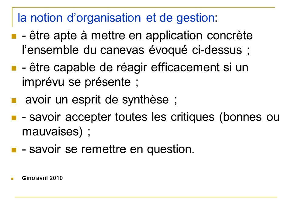 la notion dorganisation et de gestion: - être apte à mettre en application concrète lensemble du canevas évoqué ci-dessus ; - être capable de réagir e