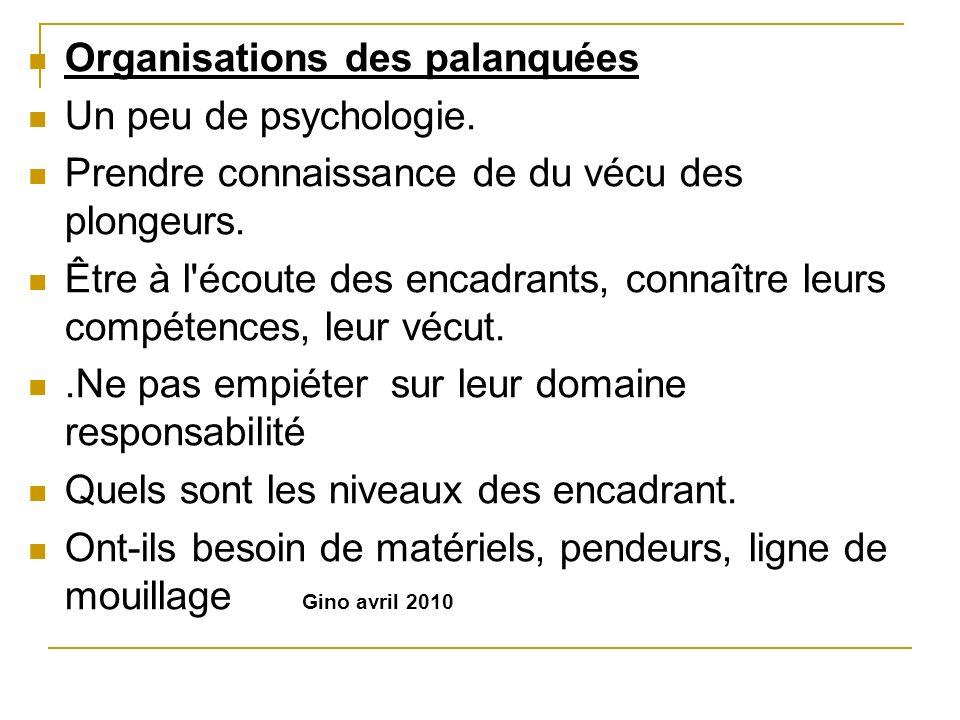 Organisations des palanquées Un peu de psychologie. Prendre connaissance de du vécu des plongeurs. Être à l'écoute des encadrants, connaître leurs com