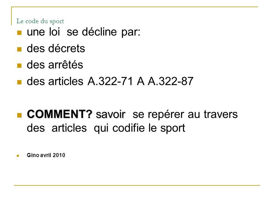 Le code du sport une loi se décline par: des décrets des arrêtés des articles A.322-71 A A.322-87 COMMENT? savoir COMMENT? savoir se repérer au traver