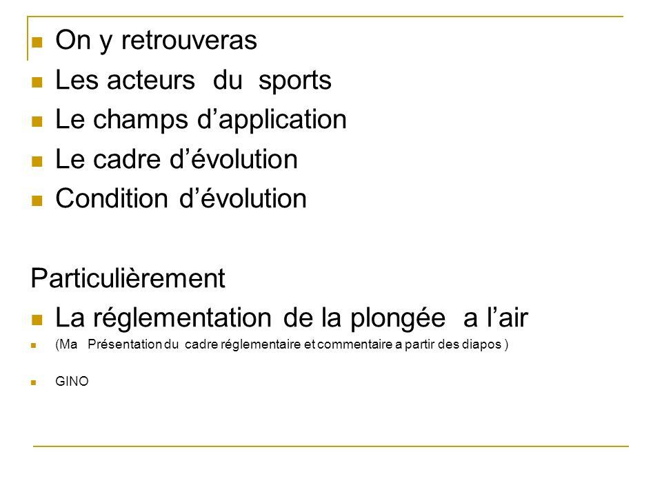 On y retrouveras Les acteurs du sports Le champs dapplication Le cadre dévolution Condition dévolution Particulièrement La réglementation de la plongé