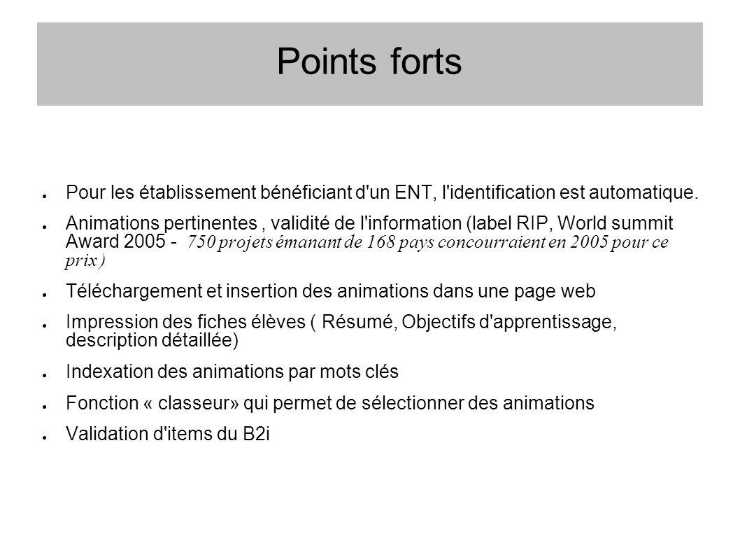 Points forts Pour les établissement bénéficiant d un ENT, l identification est automatique.