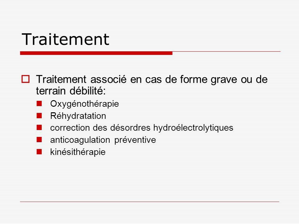 Traitement Traitement associé en cas de forme grave ou de terrain débilité: Oxygénothérapie Réhydratation correction des désordres hydroélectrolytiques anticoagulation préventive kinésithérapie
