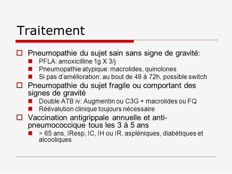 Traitement Pneumopathie du sujet sain sans signe de gravité: PFLA: amoxicilline 1g X 3/j Pneumopathie atypique: macrolides, quinolones Si pas damélioration: au bout de 48 à 72h, possible switch Pneumopathie du sujet fragile ou comportant des signes de gravité Double ATB iv: Augmentin ou C3G + macrolides ou FQ Réévalution clinique toujours nécessaire Vaccination antigrippale annuelle et anti- pneumococcique tous les 3 à 5 ans > 65 ans, IResp, IC, IH ou IR, aspléniques, diabétiques et alcooliques