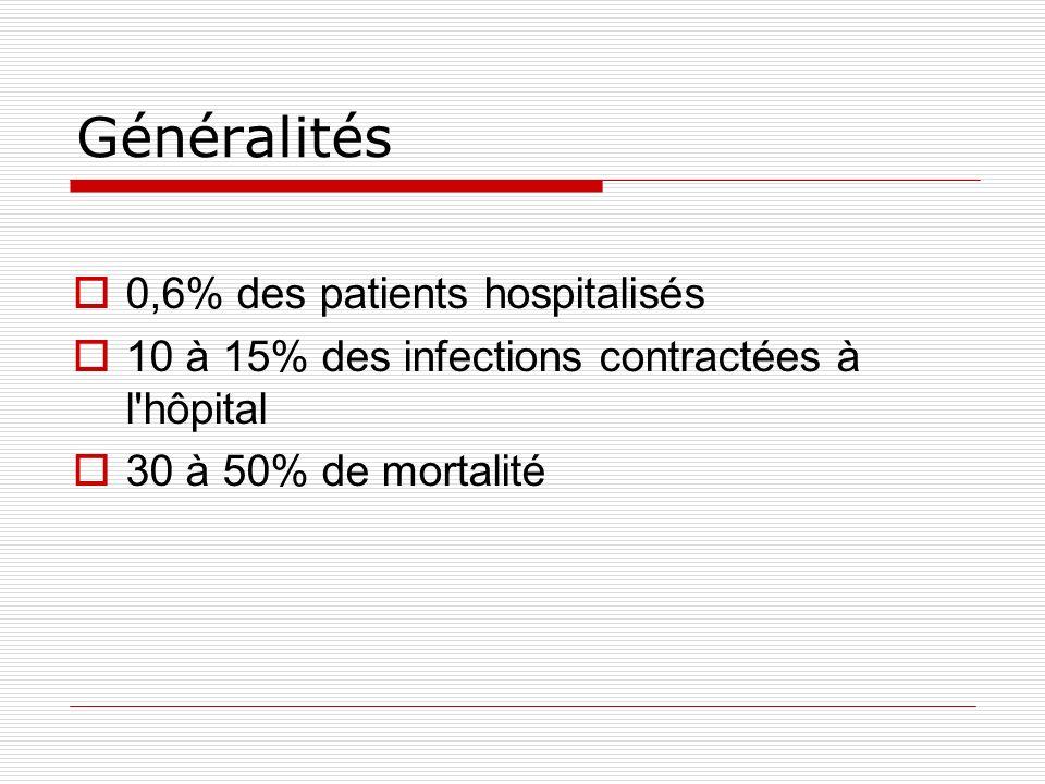 Généralités 0,6% des patients hospitalisés 10 à 15% des infections contractées à l hôpital 30 à 50% de mortalité