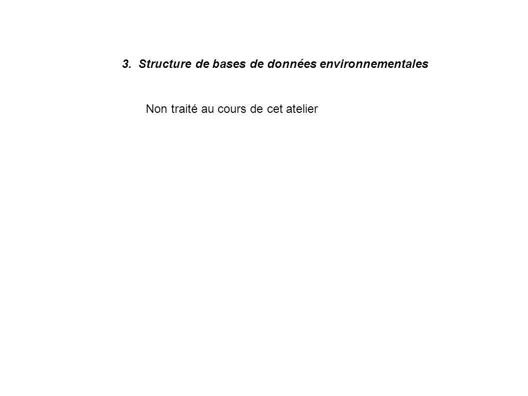 3. Structure de bases de données environnementales Non traité au cours de cet atelier
