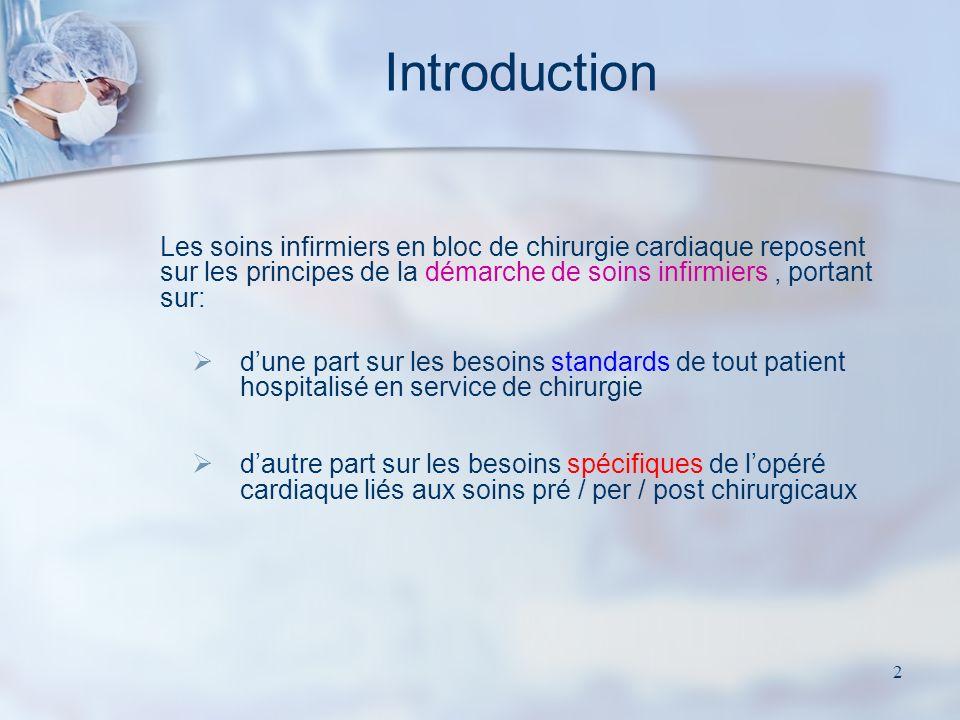 2 Les soins infirmiers en bloc de chirurgie cardiaque reposent sur les principes de la démarche de soins infirmiers, portant sur: dune part sur les be