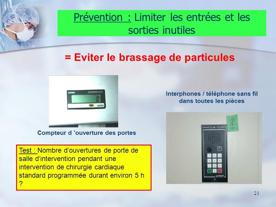21 Prévention : Limiter les entrées et les sorties inutiles Compteur d ouverture des portes Interphones / téléphone sans fil dans toutes les pièces Te