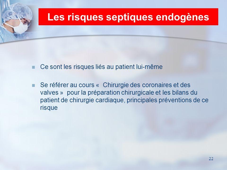 22 Les risques septiques endogènes Ce sont les risques liés au patient lui-même Se référer au cours « Chirurgie des coronaires et des valves » pour la