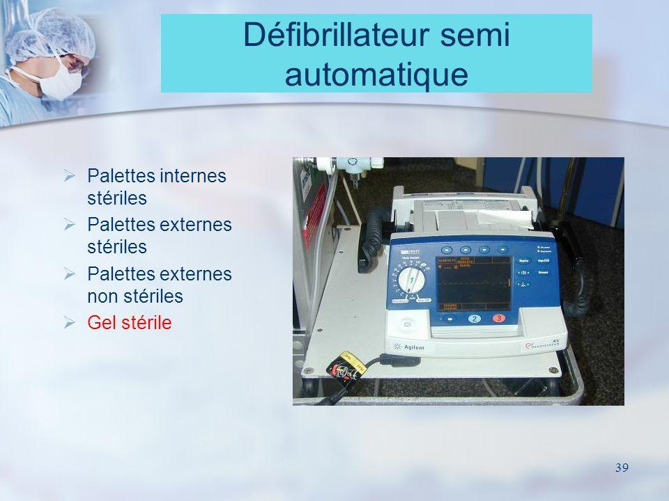 39 Défibrillateur semi automatique Palettes internes stériles Palettes externes stériles Palettes externes non stériles Gel stérile
