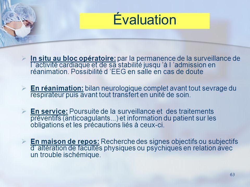 63 In situ au bloc opératoire: par la permanence de la surveillance de l activité cardiaque et de sa stabilité jusqu à l admission en réanimation. Pos