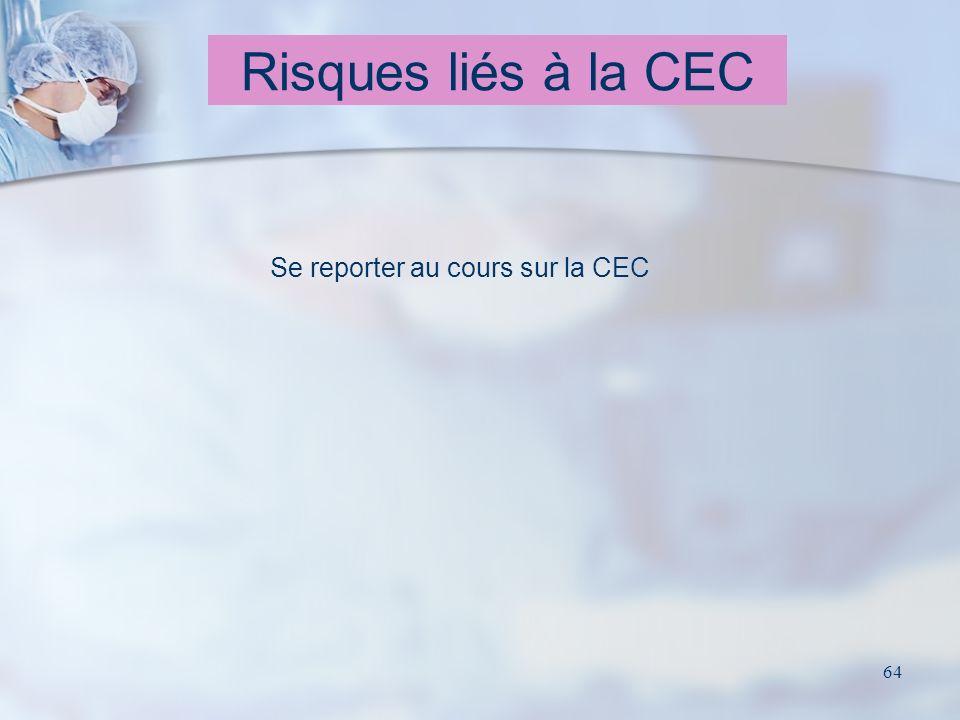 64 Risques liés à la CEC Se reporter au cours sur la CEC