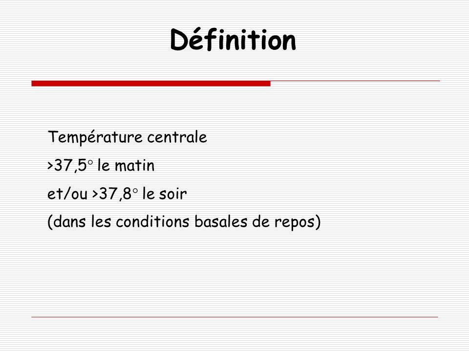 Température centrale >37,5° le matin et/ou >37,8° le soir (dans les conditions basales de repos) Définition