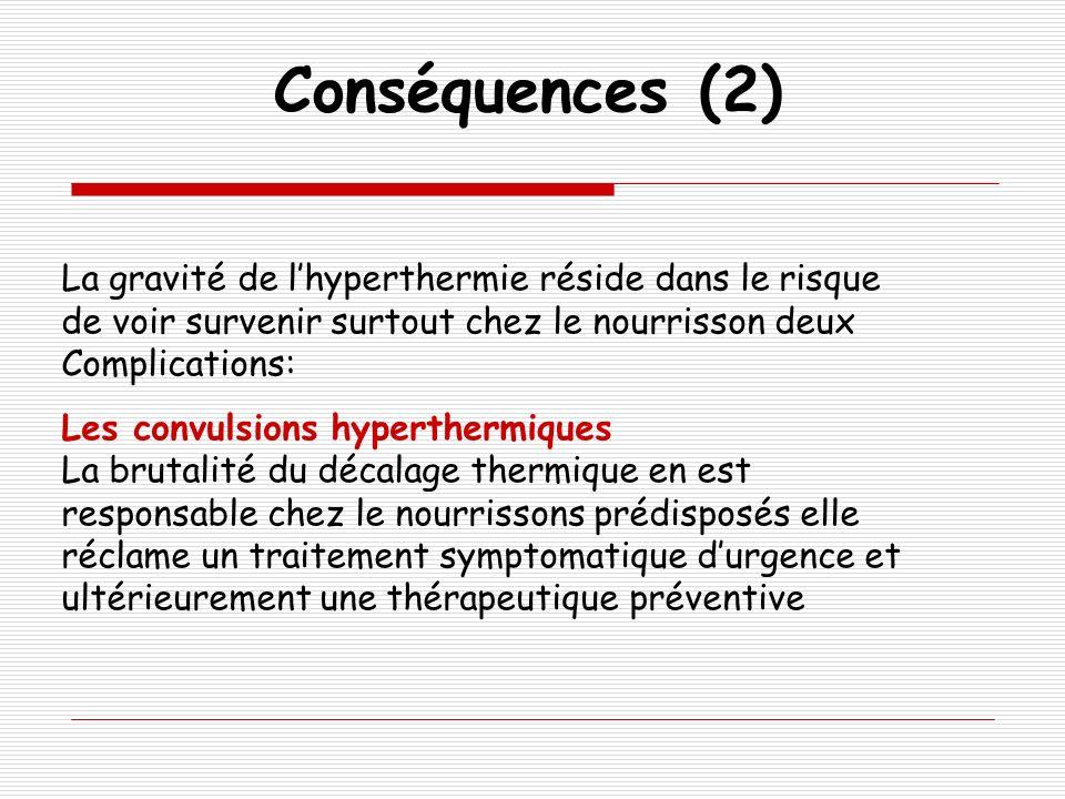 Conséquences (2) La gravité de lhyperthermie réside dans le risque de voir survenir surtout chez le nourrisson deux Complications: Les convulsions hyp