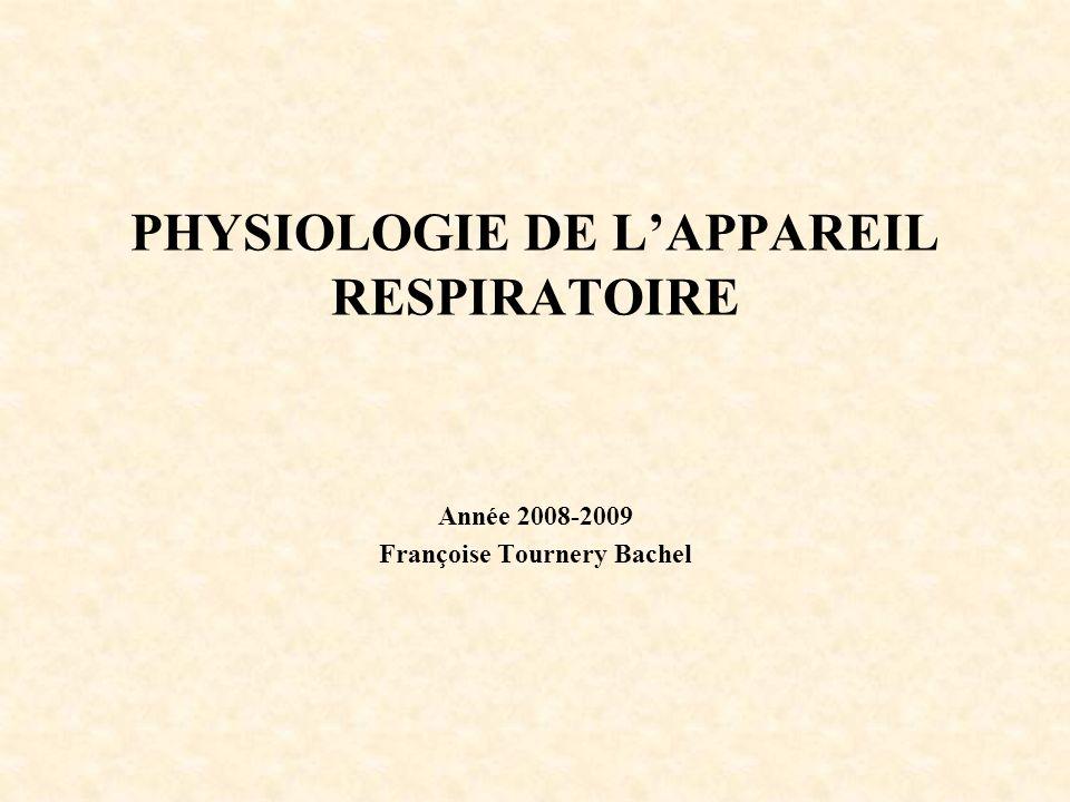 PHYSIOLOGIE DE LAPPAREIL RESPIRATOIRE Année 2008-2009 Françoise Tournery Bachel