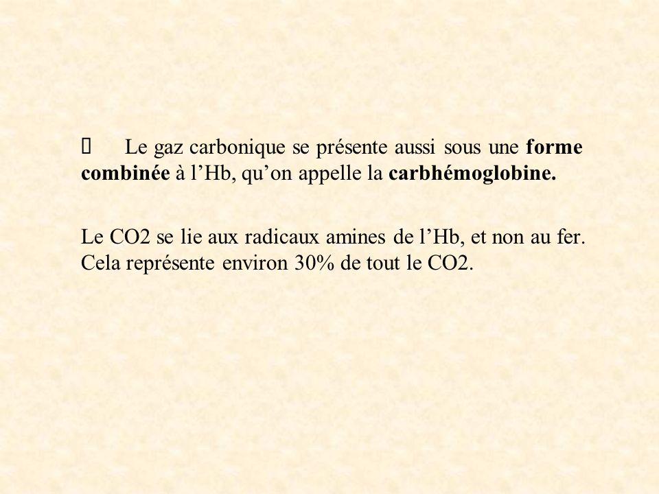 Le gaz carbonique se présente aussi sous une forme combinée à lHb, quon appelle la carbhémoglobine.