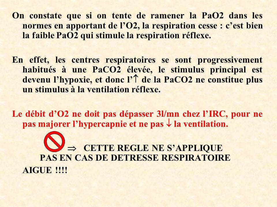 On constate que si on tente de ramener la PaO2 dans les normes en apportant de lO2, la respiration cesse : cest bien la faible PaO2 qui stimule la respiration réflexe.