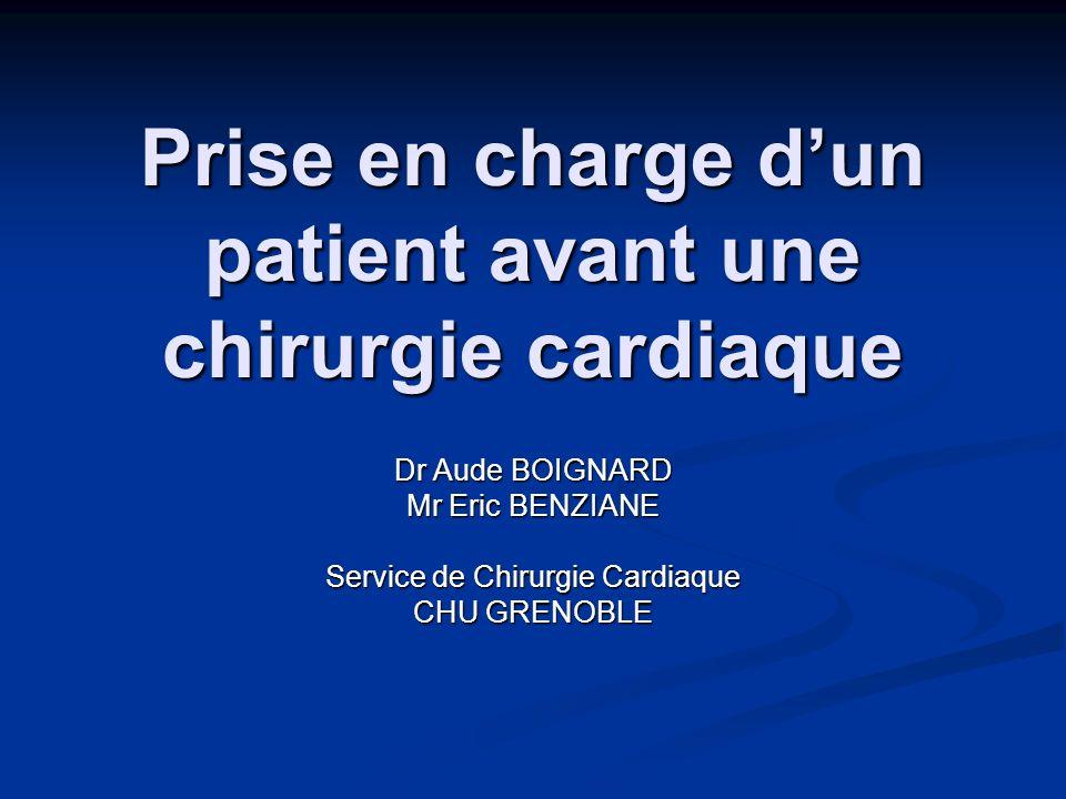 Prise en charge dun patient avant une chirurgie cardiaque Dr Aude BOIGNARD Mr Eric BENZIANE Service de Chirurgie Cardiaque CHU GRENOBLE