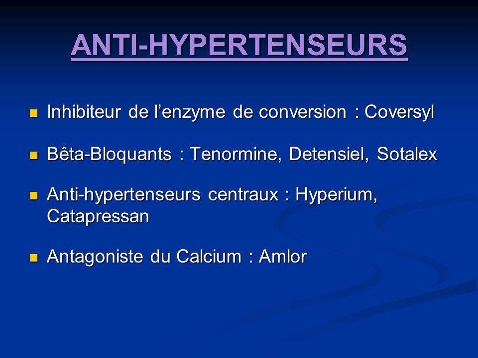 ANTI-HYPERTENSEURS Inhibiteur de lenzyme de conversion : Coversyl Inhibiteur de lenzyme de conversion : Coversyl Bêta-Bloquants : Tenormine, Detensiel, Sotalex Bêta-Bloquants : Tenormine, Detensiel, Sotalex Anti-hypertenseurs centraux : Hyperium, Catapressan Anti-hypertenseurs centraux : Hyperium, Catapressan Antagoniste du Calcium : Amlor Antagoniste du Calcium : Amlor