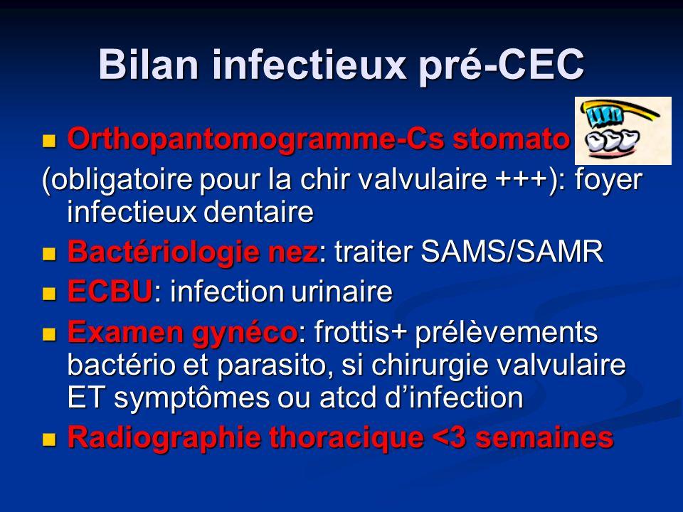 Bilan infectieux pré-CEC Orthopantomogramme-Cs stomato Orthopantomogramme-Cs stomato (obligatoire pour la chir valvulaire +++): foyer infectieux dentaire Bactériologie nez: traiter SAMS/SAMR Bactériologie nez: traiter SAMS/SAMR ECBU: infection urinaire ECBU: infection urinaire Examen gynéco: frottis+ prélèvements bactério et parasito, si chirurgie valvulaire ET symptômes ou atcd dinfection Examen gynéco: frottis+ prélèvements bactério et parasito, si chirurgie valvulaire ET symptômes ou atcd dinfection Radiographie thoracique <3 semaines Radiographie thoracique <3 semaines
