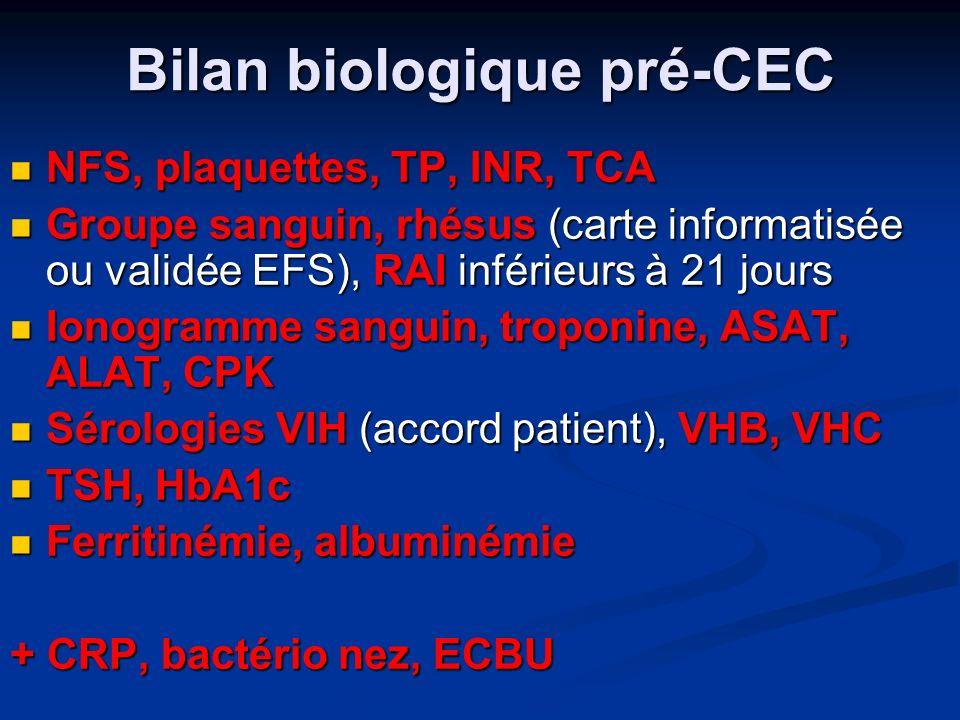 Bilan biologique pré-CEC NFS, plaquettes, TP, INR, TCA NFS, plaquettes, TP, INR, TCA Groupe sanguin, rhésus (carte informatisée ou validée EFS), RAI inférieurs à 21 jours Groupe sanguin, rhésus (carte informatisée ou validée EFS), RAI inférieurs à 21 jours Ionogramme sanguin, troponine, ASAT, ALAT, CPK Ionogramme sanguin, troponine, ASAT, ALAT, CPK Sérologies VIH (accord patient), VHB, VHC Sérologies VIH (accord patient), VHB, VHC TSH, HbA1c TSH, HbA1c Ferritinémie, albuminémie Ferritinémie, albuminémie + CRP, bactério nez, ECBU