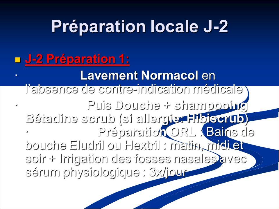 Préparation locale J-2 J-2 Préparation 1: J-2 Préparation 1: · Lavement Normacol en labsence de contre-indication médicale · Puis Douche + shampooing Bétadine scrub (si allergie: Hibiscrub) · Préparation ORL : Bains de bouche Eludril ou Hextril : matin, midi et soir + Irrigation des fosses nasales avec sérum physiologique : 3x/jour